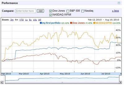 investment portfolio charting from Google Finance