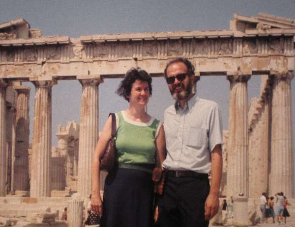 my parents in front of the Acropolis in Athens, Greece